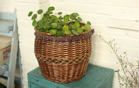 willow and wood chip basket set of 3 with flower liner