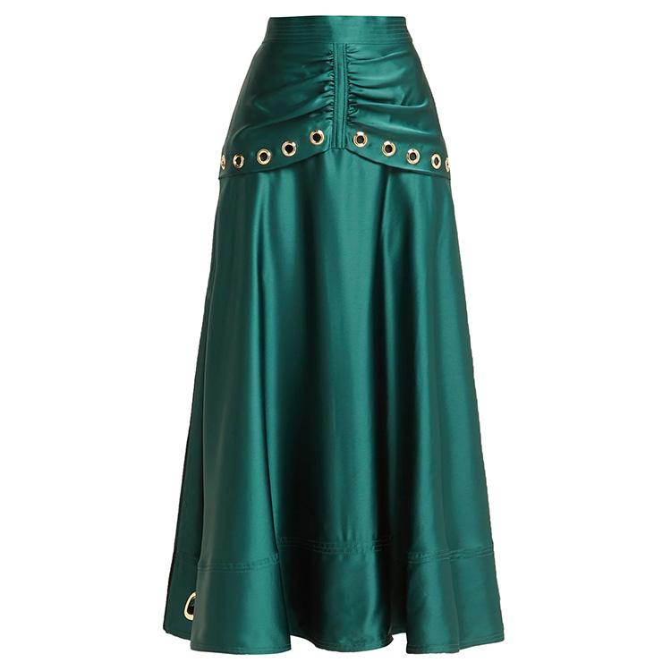 215862b592 OEM personalizado nueva moda ojal adornado verde ligero midi falda superior  paneles faldas de las mujeres