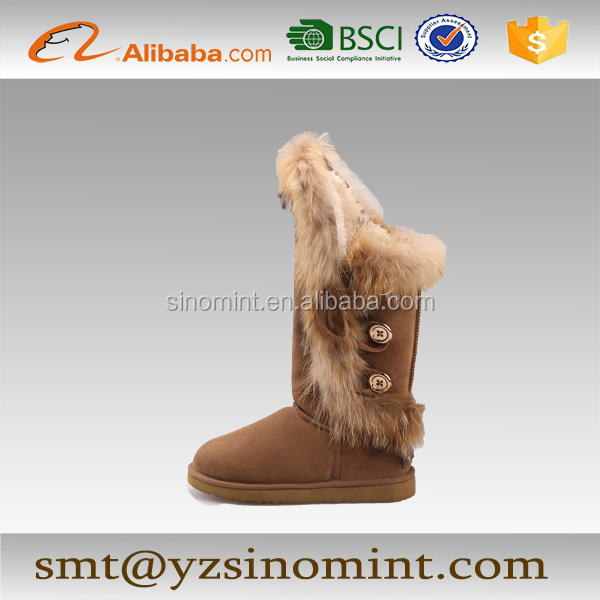 tall and long friyer fox fur snow boots