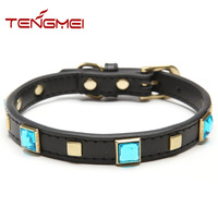 Luxury leather beads crystal dog pet collar