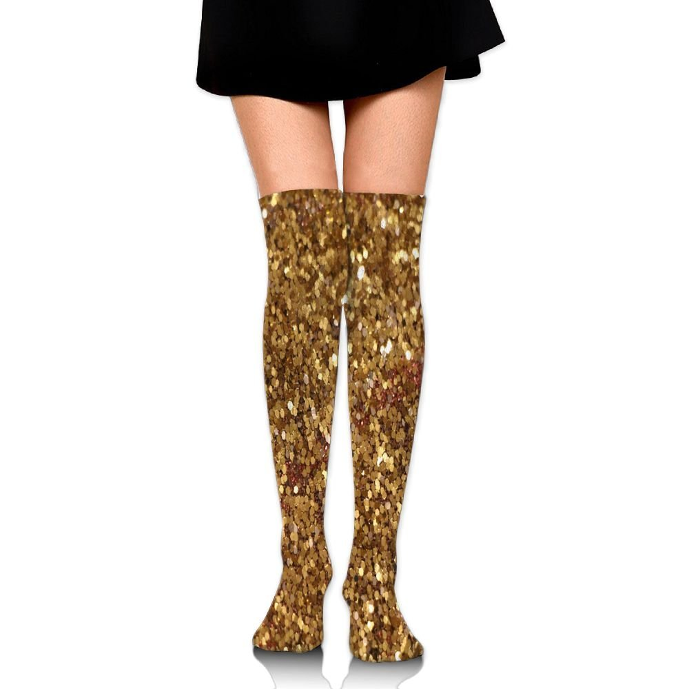 c08d403df Get Quotations · Hizhogqul Lots And Lots Of Money Shone With Gold Women s  Fashion Over The Knee High Socks