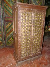 Brass Old Door Armoire Hand Carved Teak Wood Cabinet Furniture From India 60x30