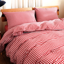 Red plaid 100% polyester home bedding set
