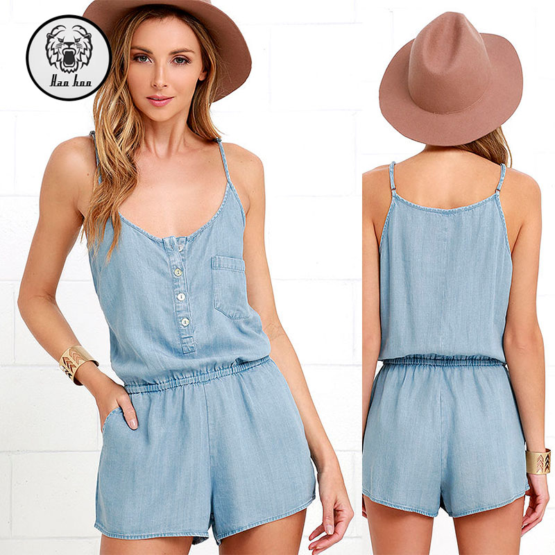 Two-Part Harmony Blue Chambray Romper