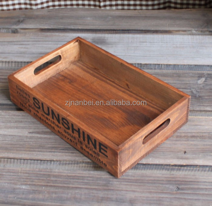 vintage wood serving trays accept customize silk printing logo antique painting 6883