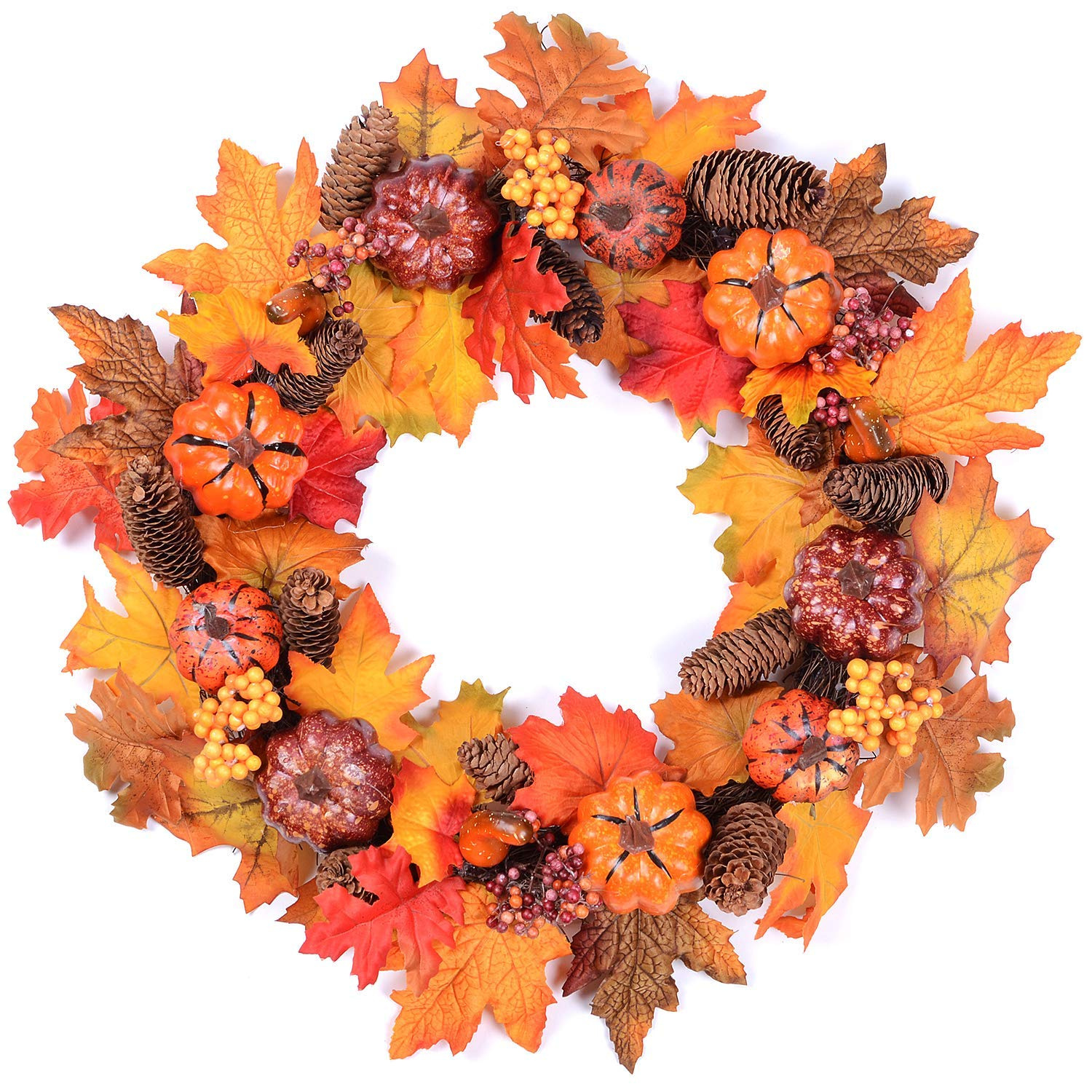 Woooow Pumpkin Harvest Silk Fall Wreath Front Door Wreath 20 Inches - Pumpkin Acorns Gourd Berries Maple Leaves Grapevine Thanksgiving Wreath Brightens Party Wedding Halloween Festival Decor