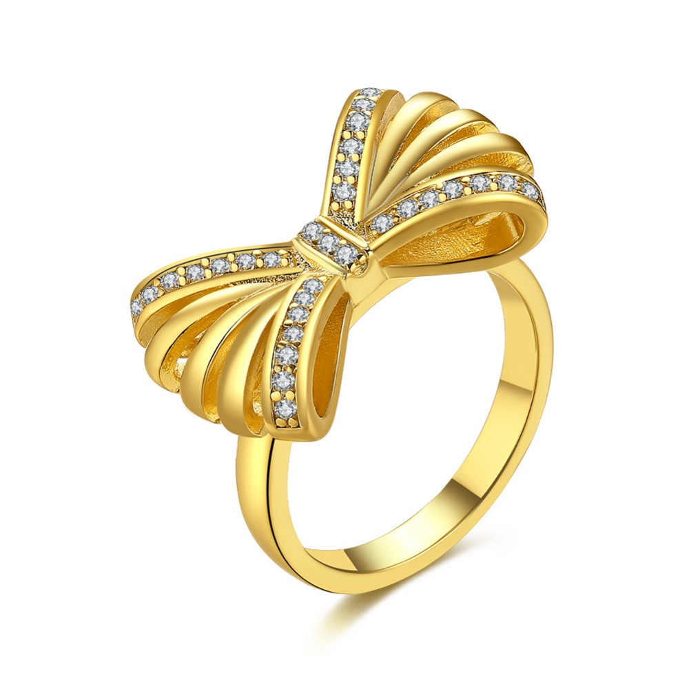 Gold Color Lovely Bowknot Design Female Jewelry Ring For Women with Micro Paved Zircon Bow Tie CZ Stones for Party and Dating