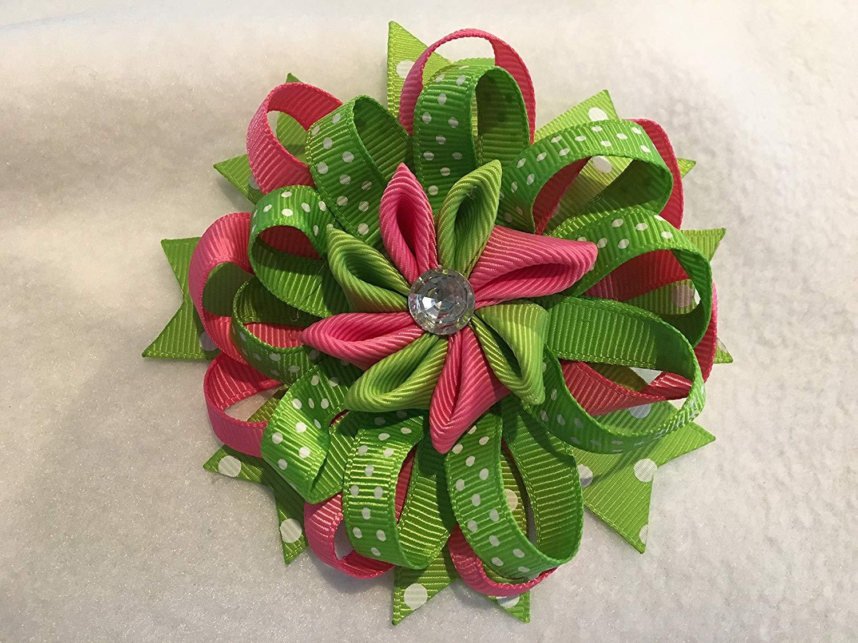 Grosgrain Ribbon Hair Bow, Stacked Hair Bow, Flower Hair Bow, Pink and Green Hair Bow