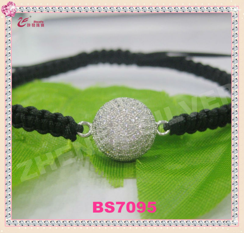 925 shamballa crystal ball string bracelet wholesale