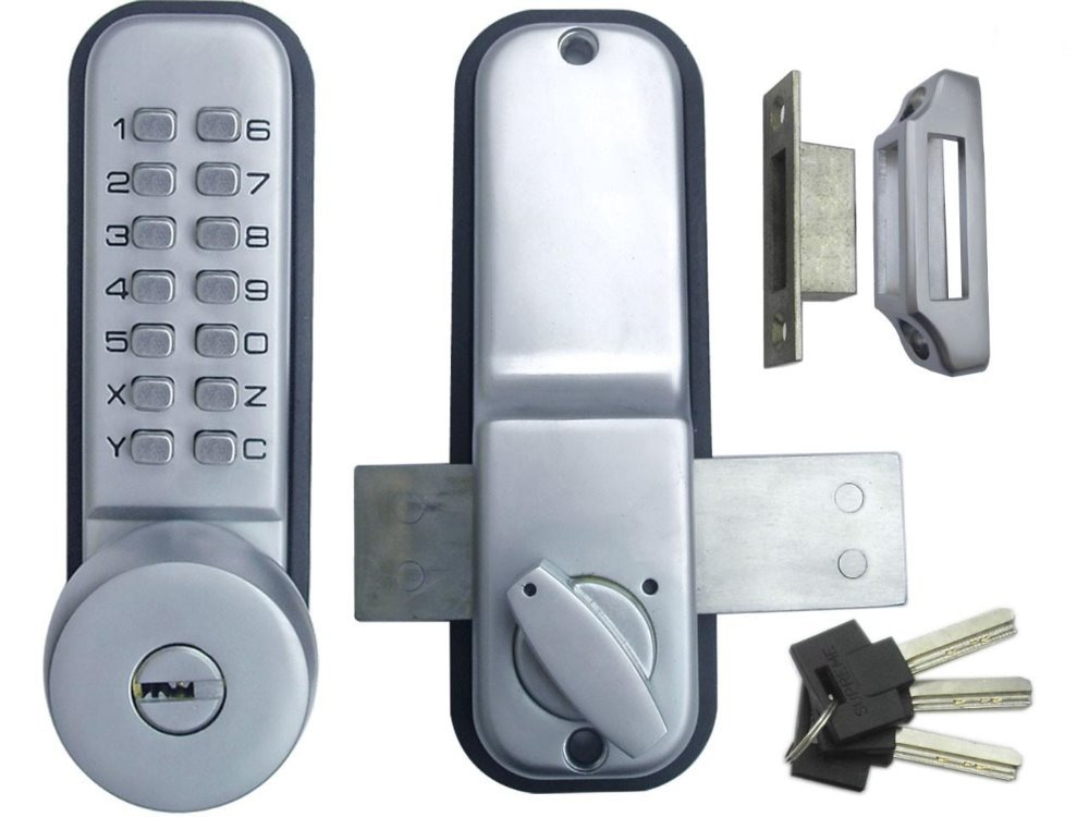mechanical push button code lock with level latch for sliding door use