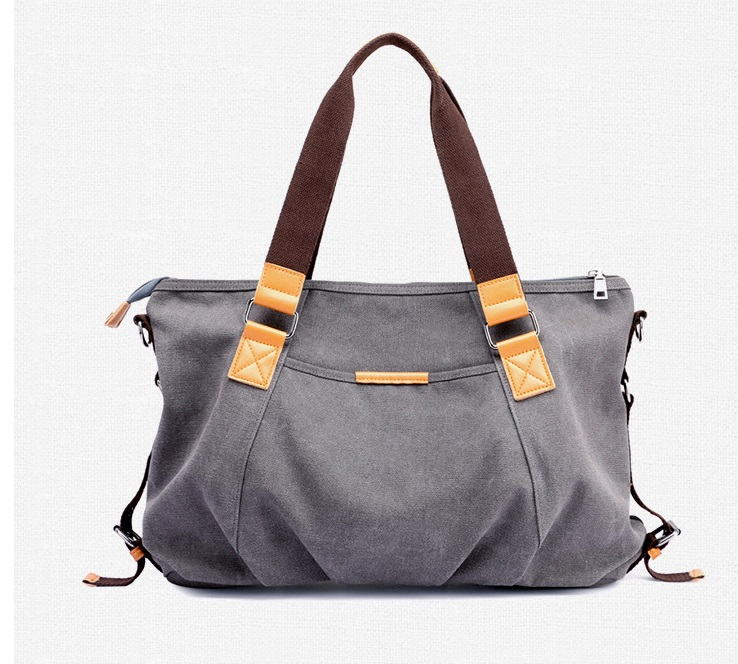 shoulder Handbag Waxed canvas leather bag with leather