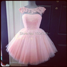 Sexy Lace Top Pink Short Prom Dresses 2015 vestidos de fiesta cortos Women Cap Sleeves Dress for Party Short