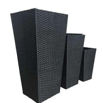 Set Of 3 Floor Standing Rattan Outdoor Planters Large Black Plastic
