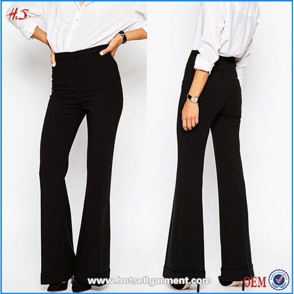 Online Shopping High Waist Flare Black Casual Pant Suit For Women Girl Designer Ladies Pants Suits With Wide Turn Up