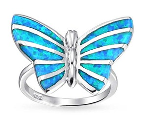 Pretty jewelry women lady ring Blue Fire Opal 925 Sterling Silver Wedding Party Engagement Love Ring