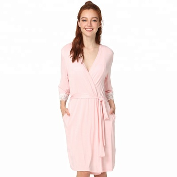 Pink Lace Trim Short Bamboo Robe - Buy Bamboo Robe ef8d9c475