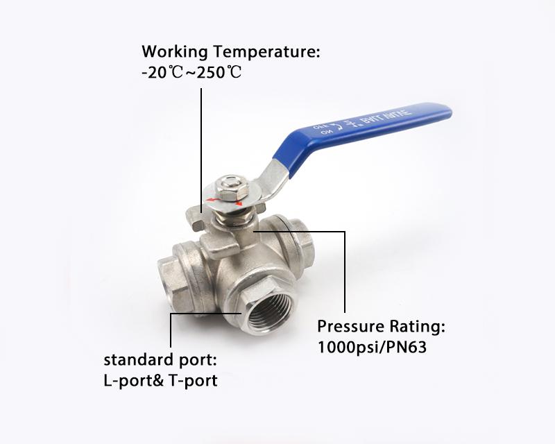 最受欢迎材质不锈钢304三通液压钢阀三通外螺纹球阀
