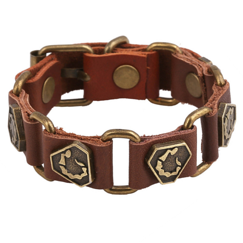 sh10-4  European Fashion Triangle Leather Bracelets 2015 Popular Brown&Black Leather Bracelets For Men&Women Free Sippping