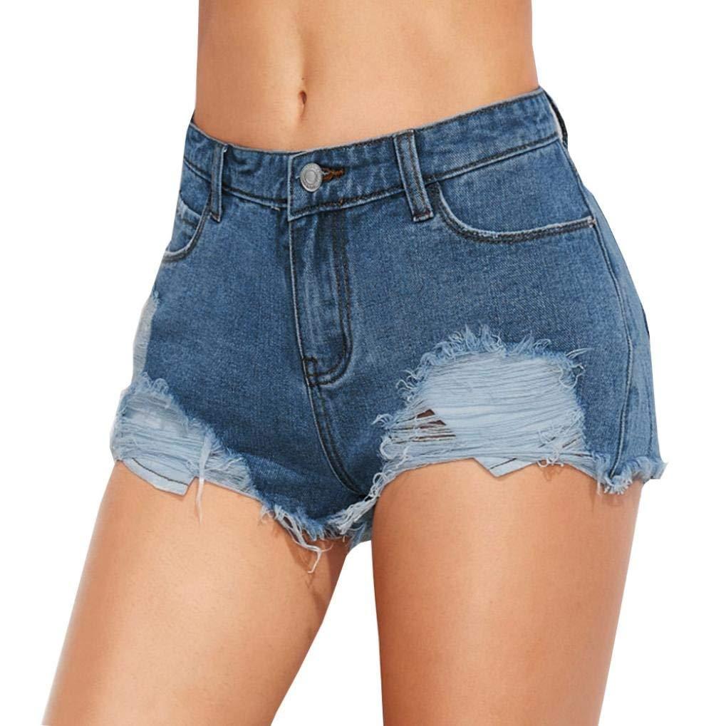 Perman Women Summer Hot Pants Hole Denim Mini Shorts Slim Fit with Button for Sale