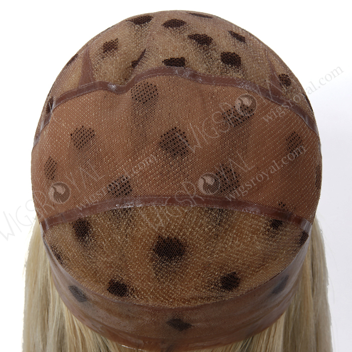 Lange Gerade Blonde Haare Mit Braunen Highlight Menschenhaarperücken