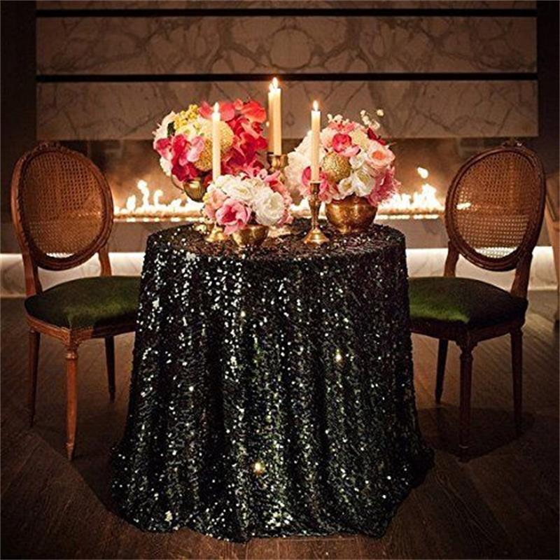 Ideal Silver Champagne Cream White Glitter Sequin Table Cloth For  RJ66