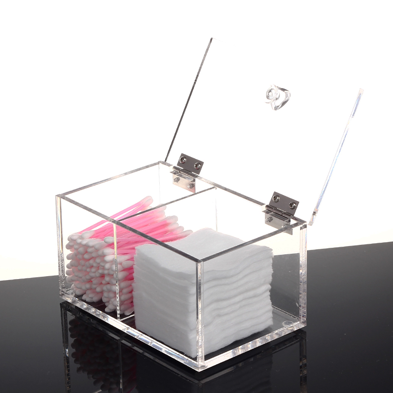Clear acrylic cotton box holder makeup cotton buds storage organizer box with hinged lid and 3 compartments