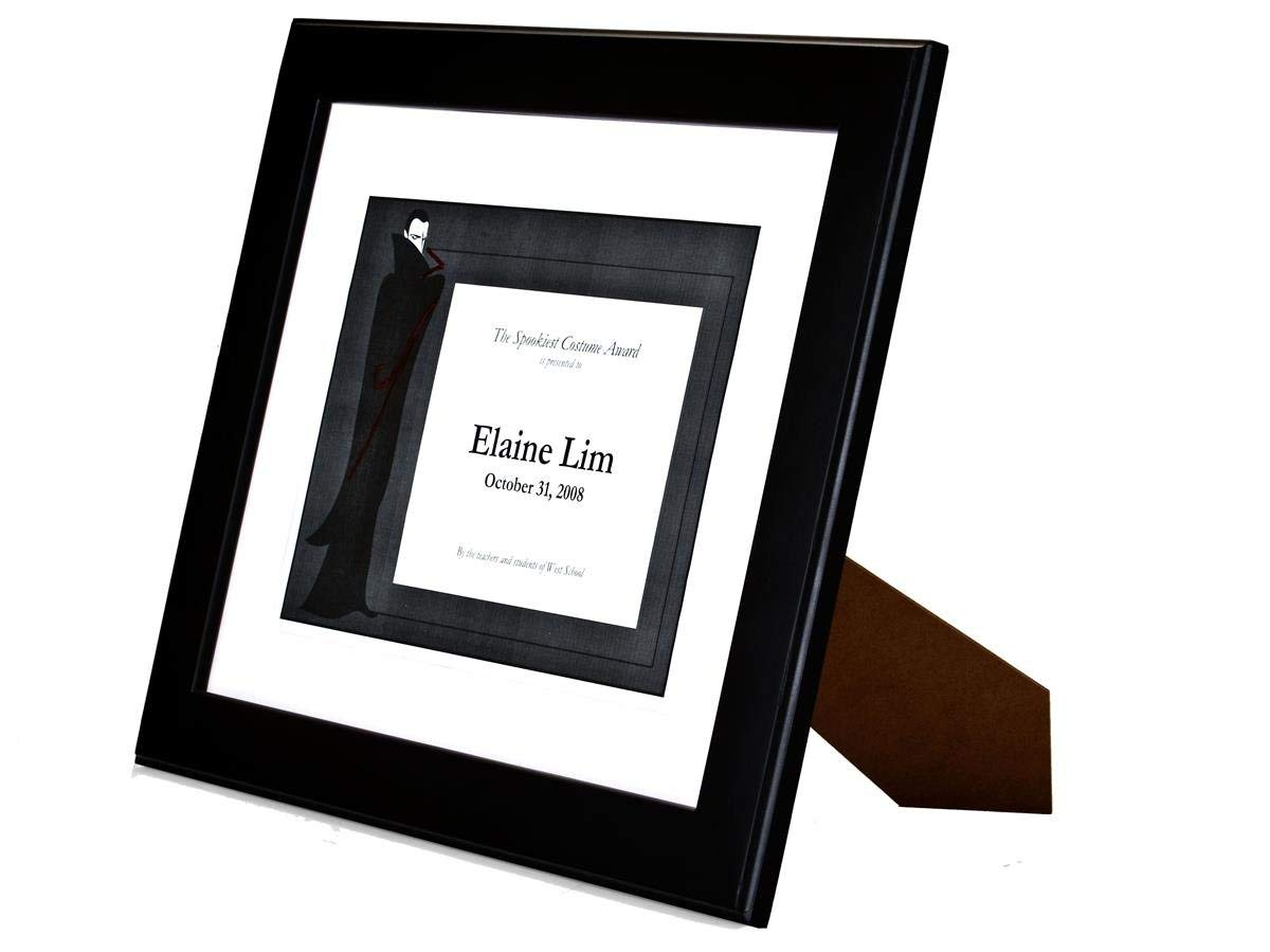Black Finish Wood Document Frame With Removable Mat Displays Certificates Up To 13 x 10-1/2-Inches, Dual-sided Easel With Wall Mounting Hooks, 16-1/8 x 13-5/8 x 1/2-Inch - Sold In A Set Of 6