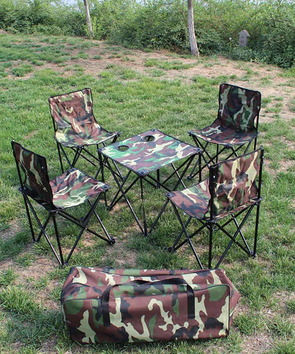 QIANGDA Foldable Portable Camping/Picnic/Barbecue/Beach Outdoor Table & Chair(4) Set Family Club (Color : Camouflage Color, Size : 454575cm)