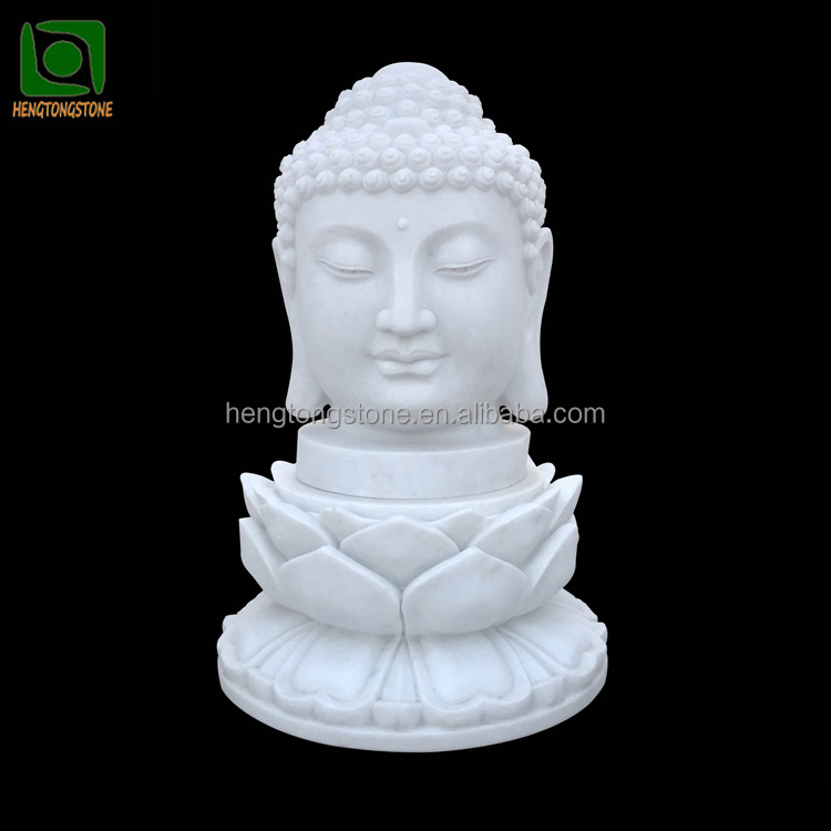 Hand Carved White Marble Buddha Head Statue