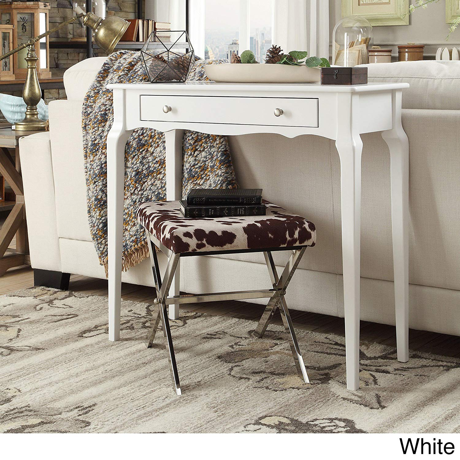 Casual Daniella 1-drawer Wood Accent Console Sofa Table Beautiful Scalloped Apron and Curved Shape Wood Finish (White)