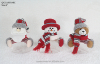 Small Santa Snowman Bear Decorative Christmas Plastic Candy Jars