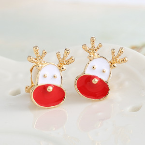 Cute Student Christmas Deer Clip Earrings Fashion Newest Red White Drip Oil Christmas Sika Deer Stud Earring