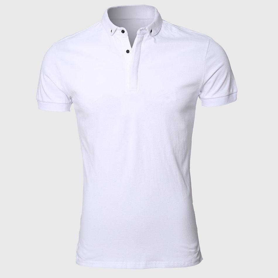 APL025 White Men Polo Shirt Pattern Slim Fit Turn Down Types Collars Work  Sport Clothing 23ed73b53fd2