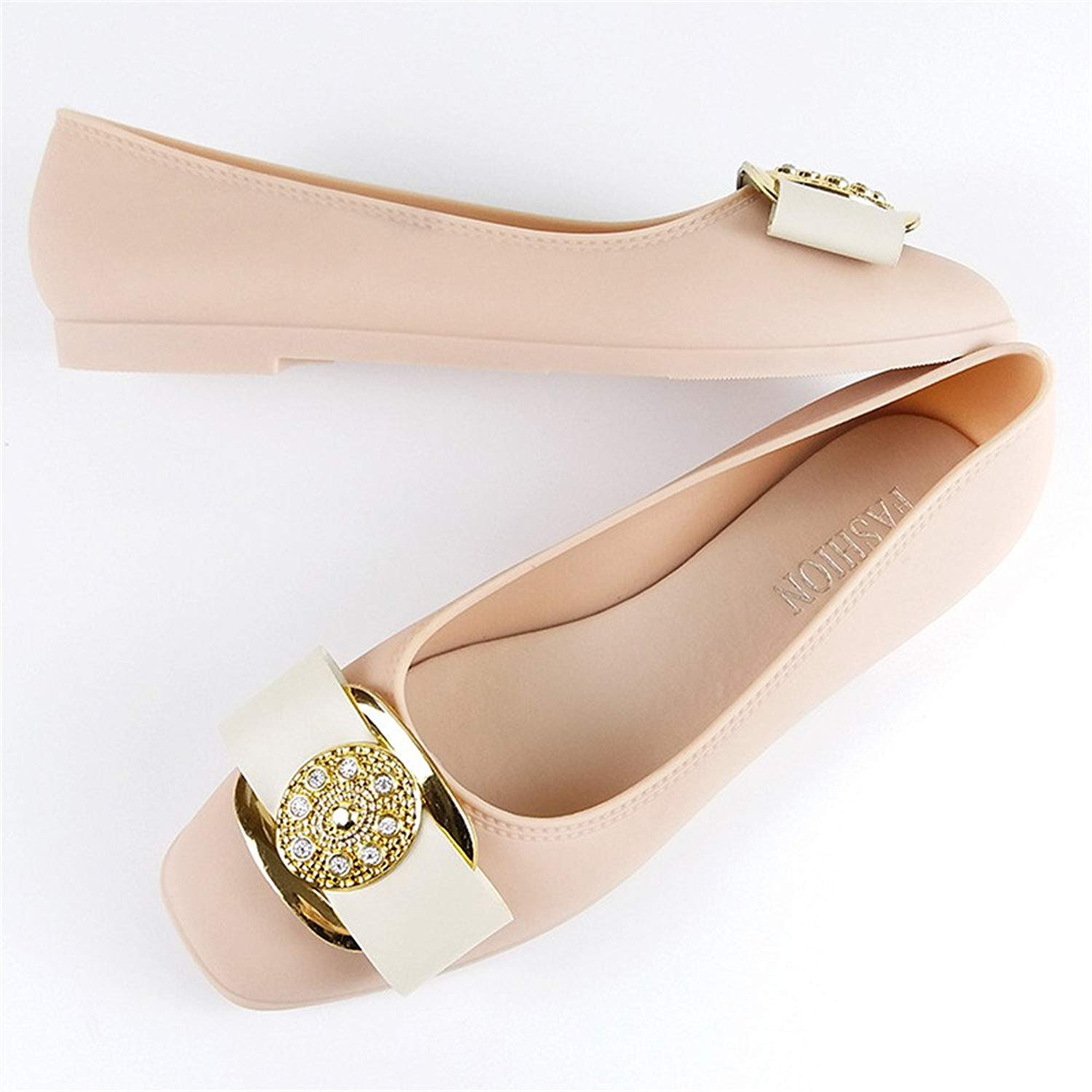 46ef4e787 Get Quotations · PRETTYHOMEL Womens Jelly Shoes Classic Comfortable Round  Toe Slip On Ballet Everyday Flats