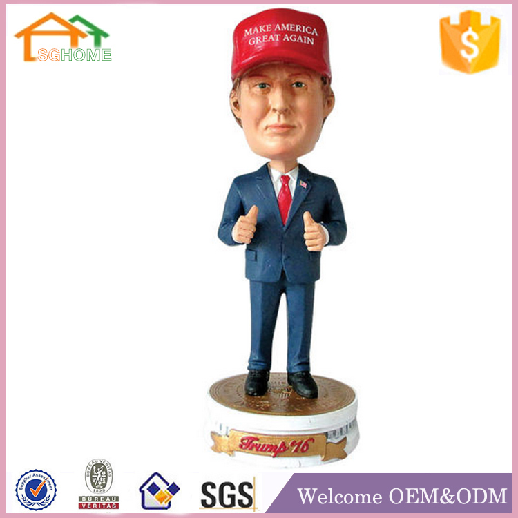 Factory Custom made best home decoration gift polyresin trump bobblehead