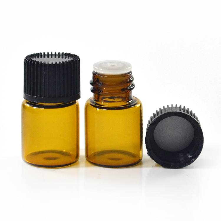 Free sample mini small empty 2ml amber glass vial essential oil bottle with screw cap