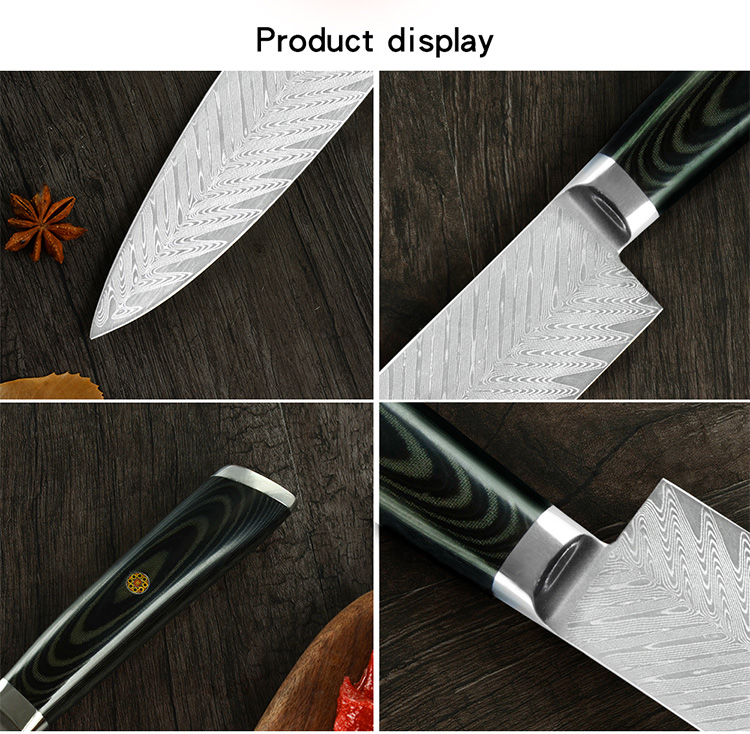 Damascus Steel Kitchen Knife Color Wood Handle Ultra-thin Blade Cleaver VG-10 Damascus Steel Chef Knife With Flower Rivet Nail