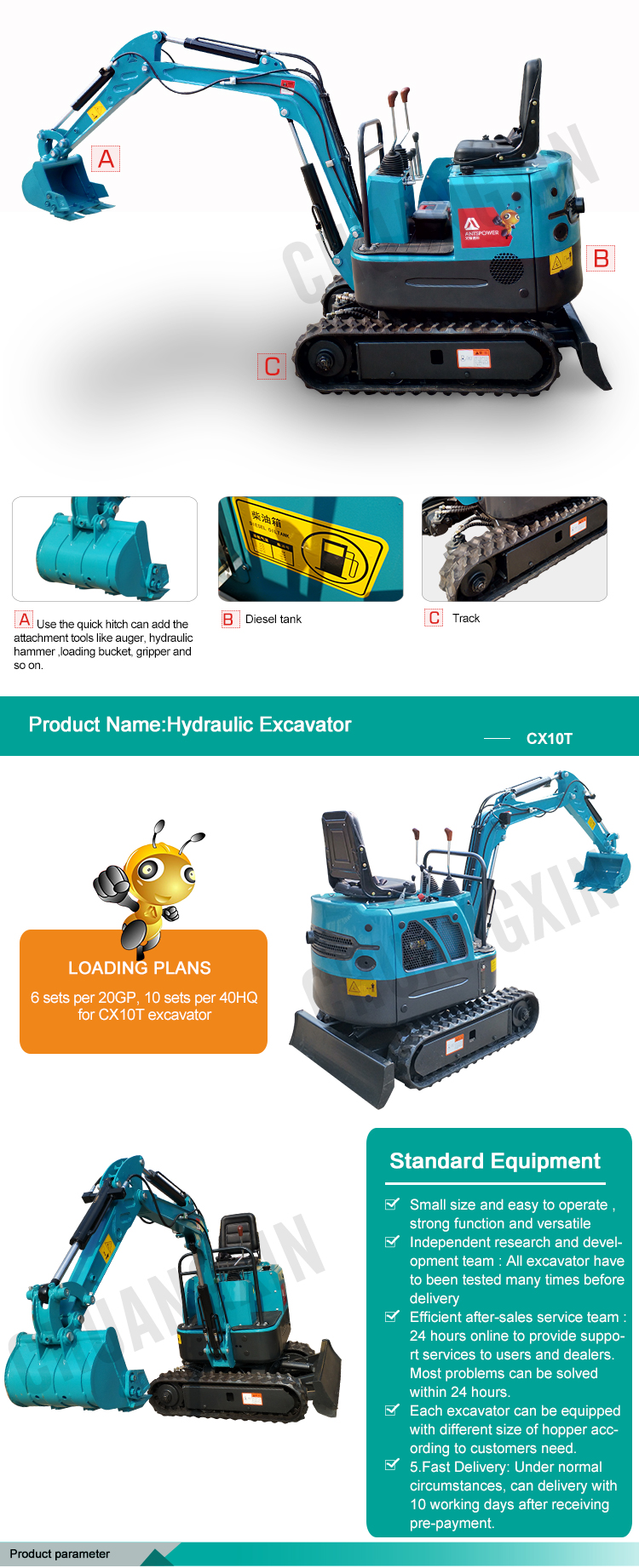Construction machine crawler excavator appearance superior performance high configuration hydraulic excavator
