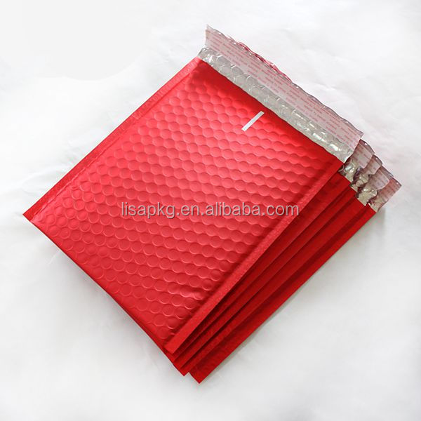 Red color plastic bubble bag/bubble shipping envelope with logo