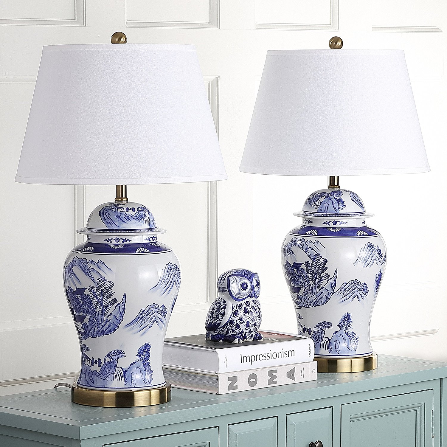 Get Quotations Safavieh Lighting Collection Shanghai Ginger Jar Blue And White 29 Inch Table Lamp Set