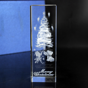 Christmas Crystal Showpieces 3D Image Crystal Cube Home Decoration
