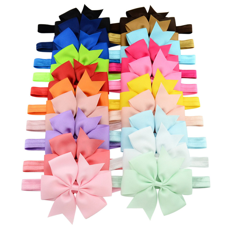 Ribbon wholesale solid six corners colorful grosgrain ribbon hair bow
