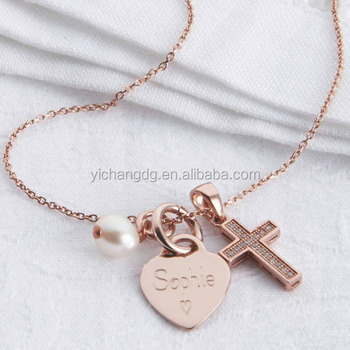 bd26c85411e50 Stainless Steel Personalised Petite Rose Gold Heart And Cross Necklace -  Buy Heart And Cross Necklace,Gold Sideways Cross Necklace,Lords Prayer And  ...