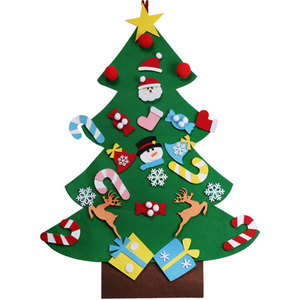 Kids DIY Door Wall Hanging Xmas Decoration Felt Christmas Tree with Ornaments set