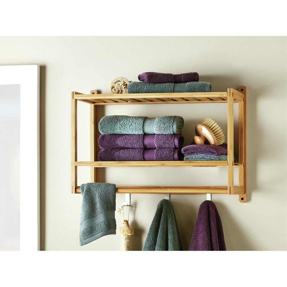 wall mounted bathroom bamboo towel shelves