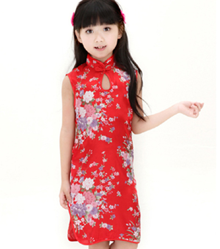 cef516911 Get Quotations · Red Chinese Children Wedding Clothing Baby Girl Satin  Cheongsam Sleeveless Flower Qipao Cute Kid Summer Dress