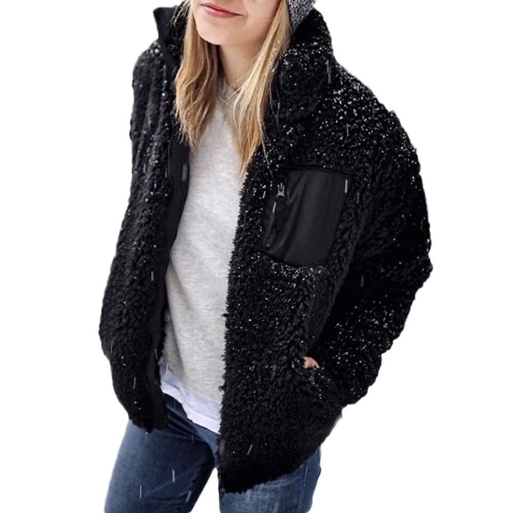 Dreamyth-Winter Women's Winter Warm Plush Loose Solid Lapel Coat Trench Coat Cardigan Tops