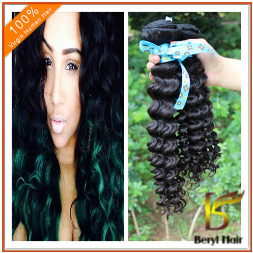 Beryl hot sell human hair short indian remy deep wave hair weave