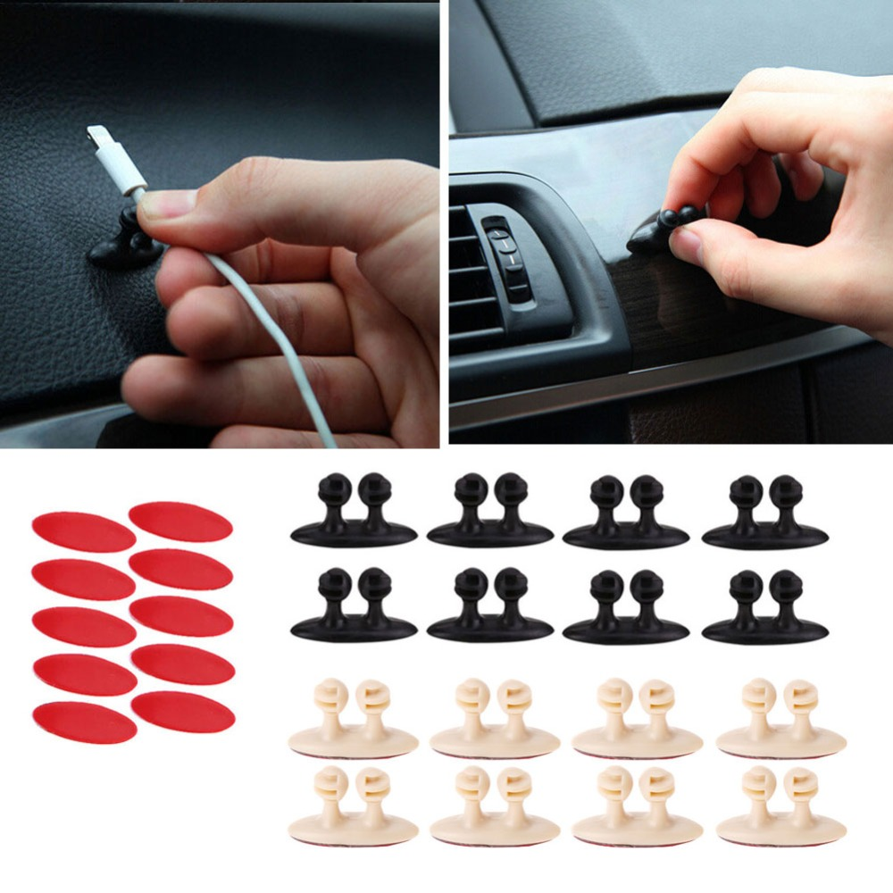 VODOOL 8pcs/set Adhesive Cable Winder Car Interior Cable Clip Earphone Cable Organizer Wire Storage Holder Clip Cord Holder