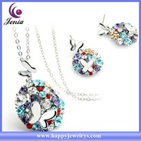 Beautiful bling crystal earring ,pendant set 18k white gold plated fashion jewelry set ( YWS4956)